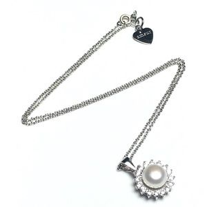 925 Silver White Pearl CZ Crystal Pendant Necklace